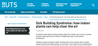 UTS - Sick Building Syndrome: How indoor plants can help clear the air